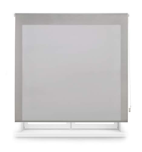 Blindecor Ara Estor enrollable translúcido liso, Gris Plata, 100 x 175 cm (Ancho x Alto)