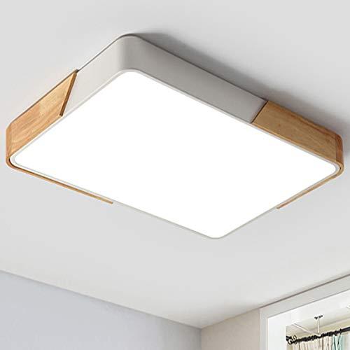 Natsen LED Deckenleuchte 48W rechteckige Holz Deckenlampe voll dimmbar mit Fernbedienung warmweiss-kaltweiss 3000K-6000K Lampe für Esszimmer Kinderzimmer Wohnzimmer Büro Schlafzimmer (65 x 43 x 5cm)