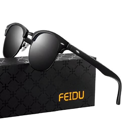 FEIDU Halbrahmen Polarisierte Klassische Metall Sonnenbrillen Herren-Retro Polarisierte Sonnenbrille Damen FD 3031 (1.1-all/schwarz-matte-schwarz, 2.04)