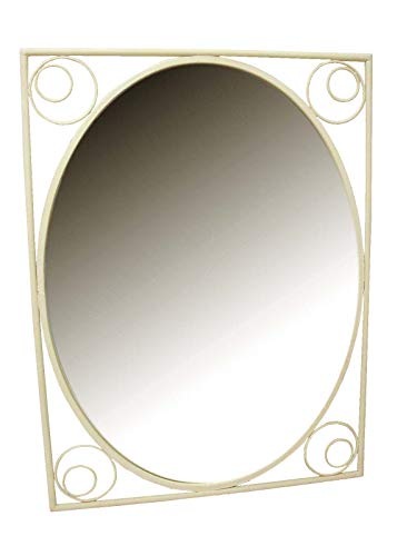 Desconocido Espejo Pared Vertical FORJA Anillas Crema Rustico GASTADO Envejecido Manchas Desigual