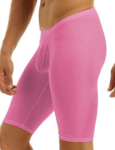 iiniim Men's Compression Base Layer Shorts Pants Bodybuilding Yoga Capris Tights Hot Pink Medium