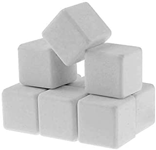Q4 Keramische Eissteine Marmor Whiskey Steine. Wiederverwendbare Chilling Ice Cubes. Set von 9 mit Beutel.