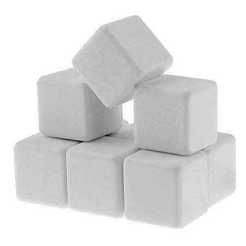 Q4 Keramische Eissteine; Marmor Whiskey Steine. Wiederverwendbare Chilling Ice Cubes. Set von 9 mit Beutel.