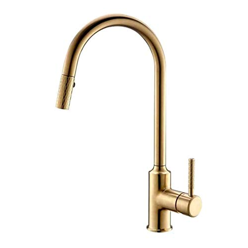 Touch On Kitchen Sink Faucets Gold Kitchen Faucets with Pull Down Sprayer,1 or 3 Hole Mounted with Deckplate,360° Rotation Single Lever Cold and Hot Water Mixer Tap Stainless Steel Easy to Install