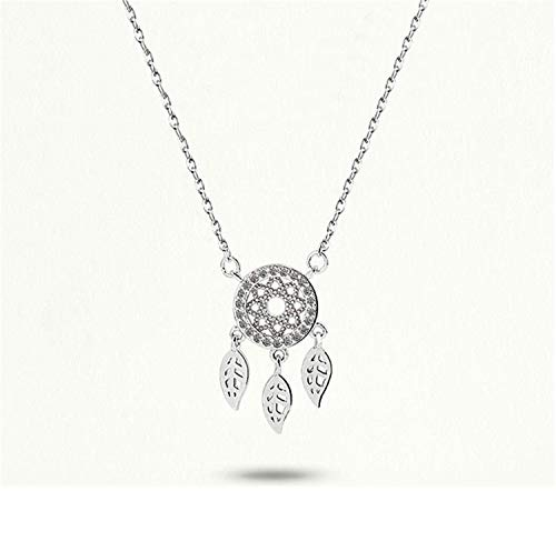 He-shop Clavicle Chain Choker S925 Sterling Silver Pendant For Women Fashion Personality Retro Dream Catcher Design Style Necklace
