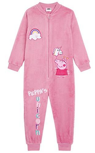 Peppa Pig Peppa Wutz Schlafanzug, Kinder Schlafanzug Einteiler Design von Peppa und ihrem Einhorn, Onesie Pyjamas Jumpsuit Extra Weiches Fleece Hell-Pink, Einhorn Geschenke Für Mädchen (4/5 Jahre)