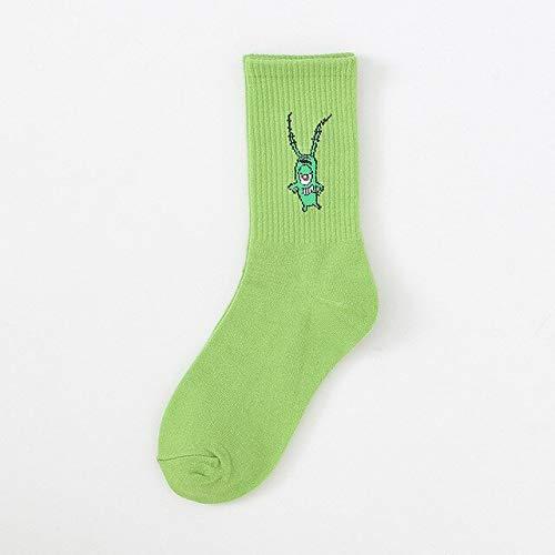 2 Pares de Calcetines Verdes para Mujeres Miembros de la tripulación Adultos Kawaii Calcetines con Estampado de Dibujos Animados de algodón otoño Moda Calcetines-5-EUR 35-40