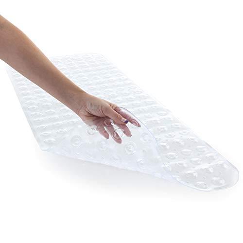 SlipX Solutions Il Tappetino da Bagno Extra Lungo aggiunge trazione Antiscivolo a vasche e docce - 30% in più Rispetto ai tappetini Standard! (200 Ventose, 99 cm di Lunghezza, Chiaro)