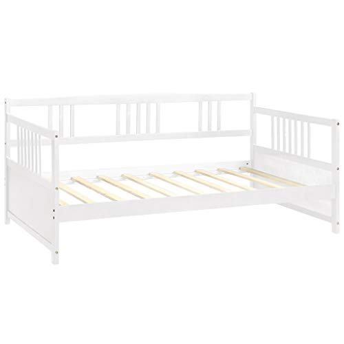 Daybed Wooden Slats Support Twin Size with 3-Side Guardrails Rustic Bed Frame Mattress Platform for Home Dorm