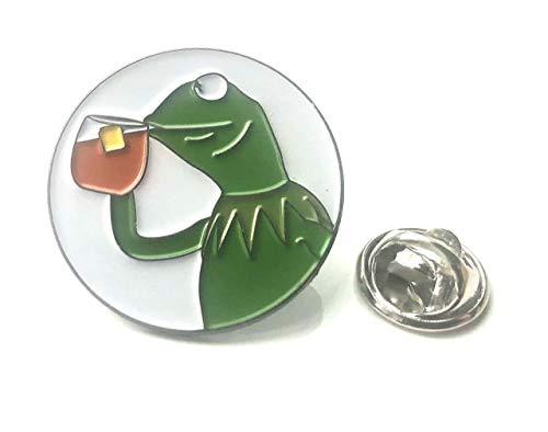Kermit der Frosch Trinkender Tee – Minding My Own Business Anstecknadel – UK Company