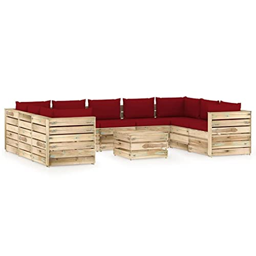 vidaXL Madera Impregnada Muebles de Jardín 10 Piezas con Cojines Mobiliario Exterior Terraza Balcón Hogar Cocina Mesa Silla Asiento Verde