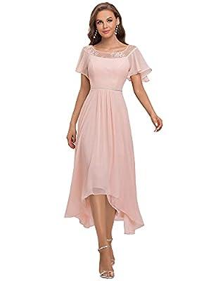 Ever-Pretty Womens Ruffle Sleeves A Line Chiffon Summer Bridesmaid Dress Long Pink US16