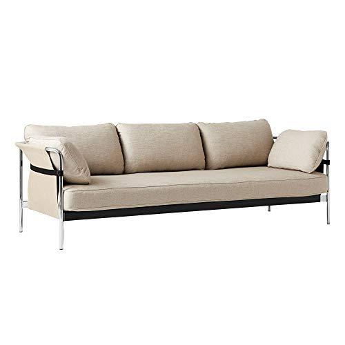 HAY Can 2.0 3-Sitzer Sofa Gestell Stahl verchromt, Hellbraun Stoff ROMO Ruskin 05 Außenstoff Natural Canvas 247x89x82cm Standardgleiter
