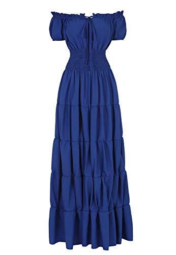 Josamogre Renaissance Mittelalter Kleid Damen Sommerkleid Kurzarm mit trompetenärmel Party kostüm bodenlang Vintage Retro Costume Cosplay Rot Blau L