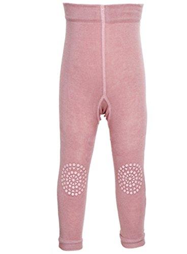GoBabyGo Baby Leggings mit ABS Noppen an Knien (80/86, Rosa) - Kleinkinder Krabbel Leggins, Produziert in Europa | Mädchen, 12-18 Monate