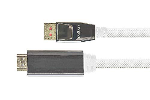 Python Cable adaptador Premium DisplayPort 1.4 a HDMI 2.0, 4K / UHD @ 60 Hz, apantallamiento triple, conector de metal dorado, conductor de cobre, nailon trenzado, color blanco, 2 m