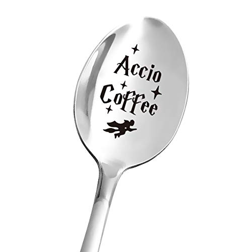 Funny Quotes Accio Coffee Spoon Engraved Stainless Steel for Coffee Lovers  Cute Coffee Spoon  Best for Book Lover Bookworm Friends  Perfect for Birthday/Valentine/Christmas