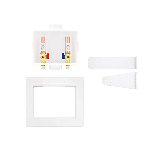 Eastman 60246 CPVC Center Drain Washing Machine Outlet Box with Hammer Arresters, 1/2'-Inch CPVC Connection, with 1/4-Turn Ball Valves Installed, White