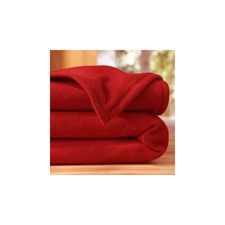 LINGE USINE Couverture Polaire VERITABLE 220 X 240 Rouge 350 GR Norme ISO Non feu