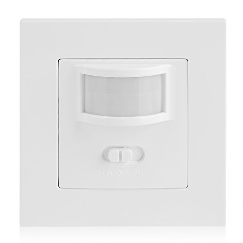 Kafuty Interruptor de Sensor de Movimiento PIR Infrarrojo, Operación de Encendido/Apagado o PIR,Controla Iluminación y Ventilación por Extracción, Interruptor de Bombilla Empotrable de Luz de Pared