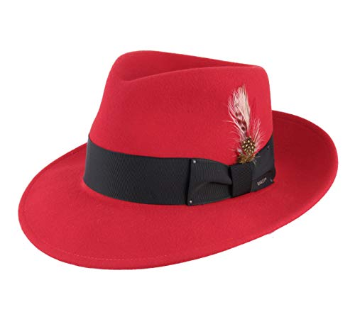 Bailey of Hollywood - Chapeau Fedora Pliable imperméable Feutre Homme ou Femme Fedora - Taille M - Rouge