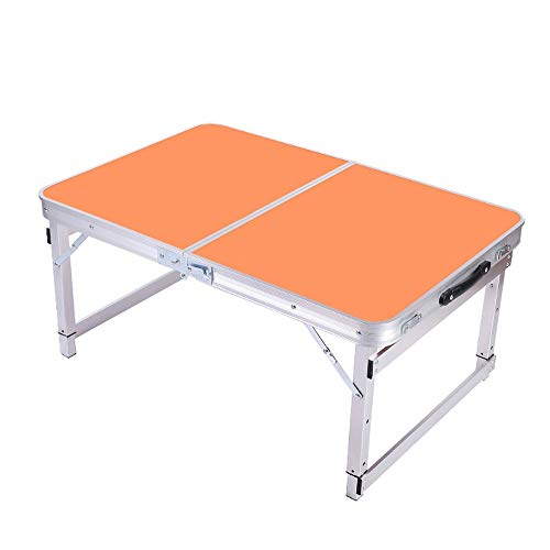 ZR Hochdichter Holz-Klapptisch, tragbarer Camping-Tisch aus Aluminiumlegierung im Freien, Einstellbarer Hoch- und Niedrig-Picknicktisch (Farbe : Orange)