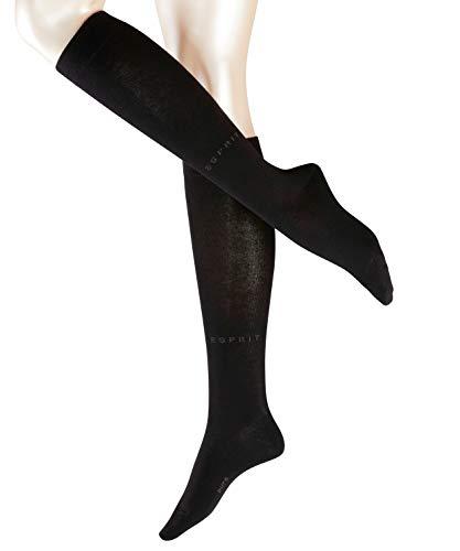 ESPRIT Damen Kniestrümpfe Basic Pure - Baumwollmischung, 1 Paar, Schwarz (Black 3000), Größe: 39-42