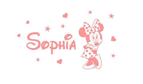 Der Name und der Minnie Mouse des personalisierten Aufklebers des Wandaufklebers. Wandaufkleber mit dem Namen eines Kindes und Mickey Mouse.