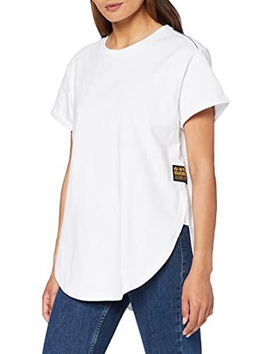 G-STAR RAW Long Slit Loose Camiseta, White C673-110, XS para Mujer