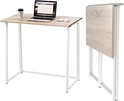 Dripex Table de Bureau Pliante Bureau Informatique Pliable Petit Table d'Ordinateur pour Bureau Domicile 80 x 45 x 74 cm - Couleur Chêne