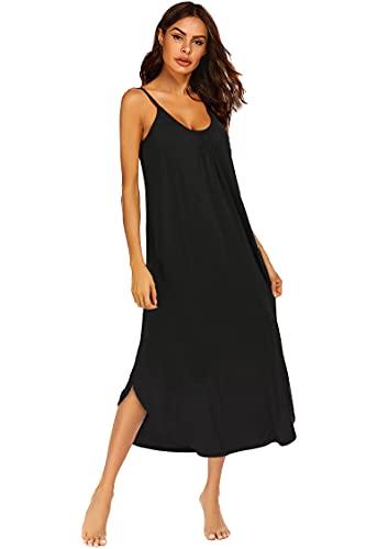 Ekouaer Sleeveless Long Nightgown Women's Soft Nightshirt Full Length Sleepwear (Black S)