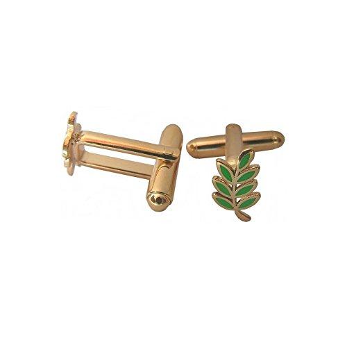 Boutons de manchettes maçonniques – Branche d'acacia émaillée vert