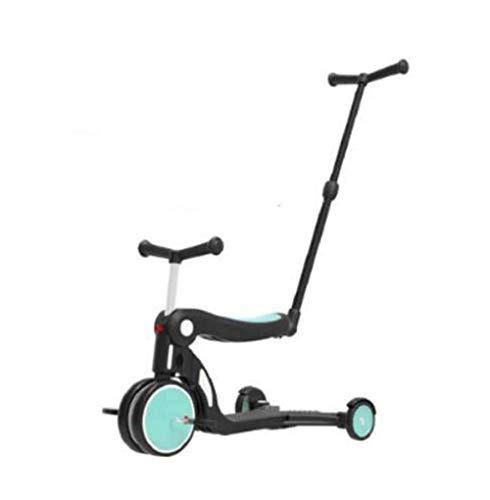 LaKoos Patinete de 5 en 1 multifunción para niños y niños, juguete de entretenimiento para el aire libre, bicicleta plegable Quick Deformatio azul