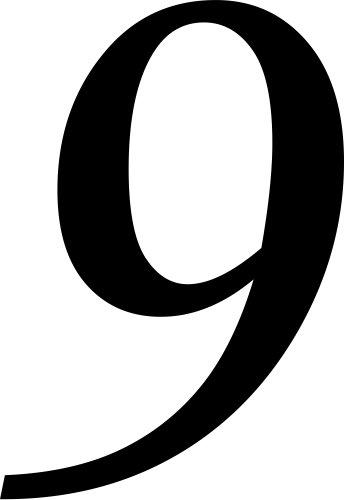 Selbstklebende Hausnummer - 9 - schwarz, 10 cm hoch - Kleben statt Bohren, Aufkleber für den Aussenbereich, Ziffer, Zahlen