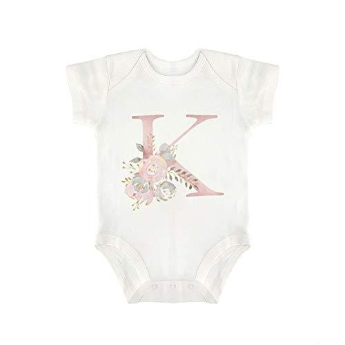 DKISEE Milu922 - Body de manga corta con diseño de flores y letras de color rosa K