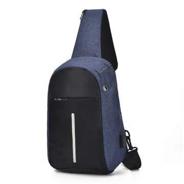 Bolso De Hombro Multifuncional Antirrobo Impermeable, Antirrobo De Aligeramiento, Conector De Auriculares De Carga USB para Hombres Y Mujeres 12x20x30/azul