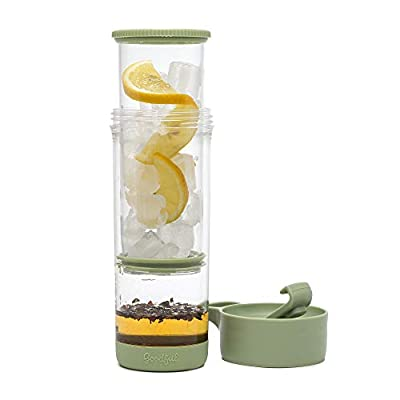 Goodful Press and Go Iced Tumbler for Loose Leaf or Bagged, Double Wall Travel Tea Mug with Stainless Steel Infuser, Leakproof, Dishwasher Safe, 16oz, Sage