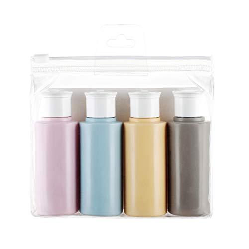 Reiseflaschen Set, 4 Reiseset Kosmetik Flaschen 60ML Kosmetik Flüssigkeitsbehälter Kosmetikflaschen Leer Plastikflasche Tragbare Shampoo Spülung Cremes (Die Presseflasche)