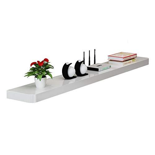 JF-TVQJ TV-wandrek van massief hout, zwevend rek, woonkamerdecoratie, wandrek voor tv-meubels, set-topbox - zwart/wit, 3 maten.