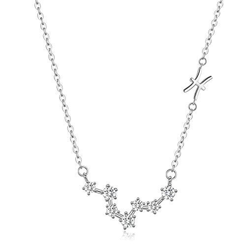 Collar de Piscis, colgante de constelación de zodiaco de plata esterlina,horóscopo de constelación, regalos de cumpleaños de febrero a marzo para mujeres niñas,collar de joyería de estrella de zodiaco