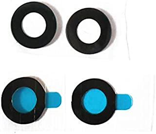 for Google Pixel 2 Back Camera Glass Lens - [2 Pack] Black Back Rear Camera Glass Lens Cover + Adhesive Fix Repair Replacement Parts
