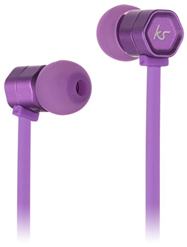 KitSound Hive Buds In-Ear Kopfhörer mit In-Line Mikrofon und Gewirrfreiem Flachkabel Kompatibel mit Apple iPod, iPhone, iPad, Smartphone, Tablet und MP3 Player - Violett