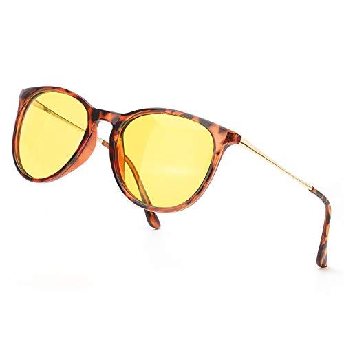 TJUTR Polarisierte Nachtfahrtbrille für Autofahren Damen und Herren HD Gelbe Nacht Vision Blendschutz Brille - UV400 (Leopard Braun/Gelb)