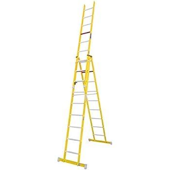 Escalera transformable de fibra de vidrio. Permite su uso en tijera y extensible. Según norma UNE-En 131 y 50528. (2 tramos x 12 peldaños): Amazon.es: Bricolaje y herramientas