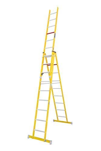 Escalera aislante de tijera con un tramo extensible, fabricada en fibra de vidrio. NO permite su uso con los tres tramos extendidos. Según norma UNE-EN 131 (9 peldaños x 3 tramos)