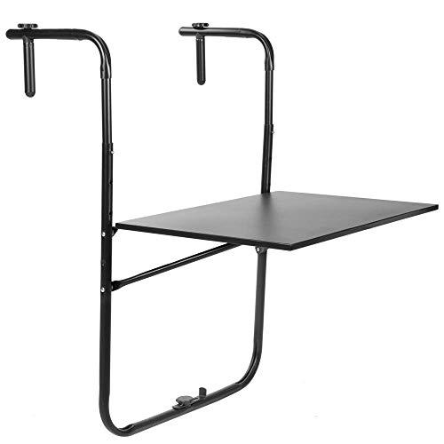 PrimeMatik - Mesa abatible de Metal para balcón 60x40cm Neg