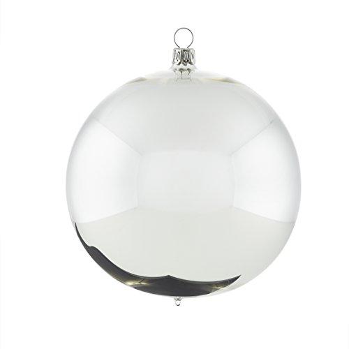 Rödentaler Weihnachtskugeln mundgeblasen Silber glänzend 8cm R08-031584