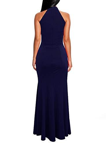 Berydress Women's Sleeveless Wedding Party Halter Long Evening Mermaid Dress (M, 6075-Navy)