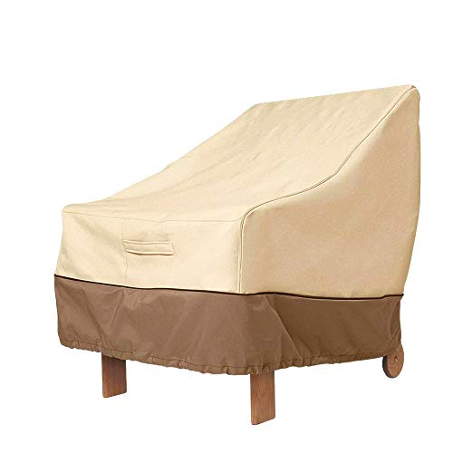 Outdoor High Back Patio Chair Cover Waterproof 210D Oxford Fabric Heavy Duty Garden Rocking Chair Seat Cover Veranda Reclining Armchair Furniture Lounge Deep Seat Chair Protector Beige (89x79x97cm)