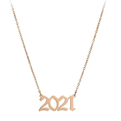 1980-2021 Collares Pendientes Con Números Digitales, Cadena De Oro Rosa Collar De Año De Nacimiento Cadenas De Joyería Collar De Cadena De Acero Inoxidable Para Mujeres-Oro Rosa_2017